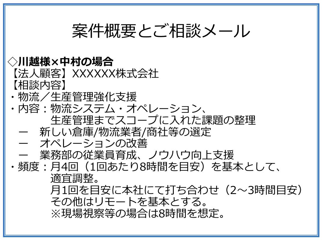 サーキュレーションの中村が川越様に送ったメール概要(固めきれていない案件)