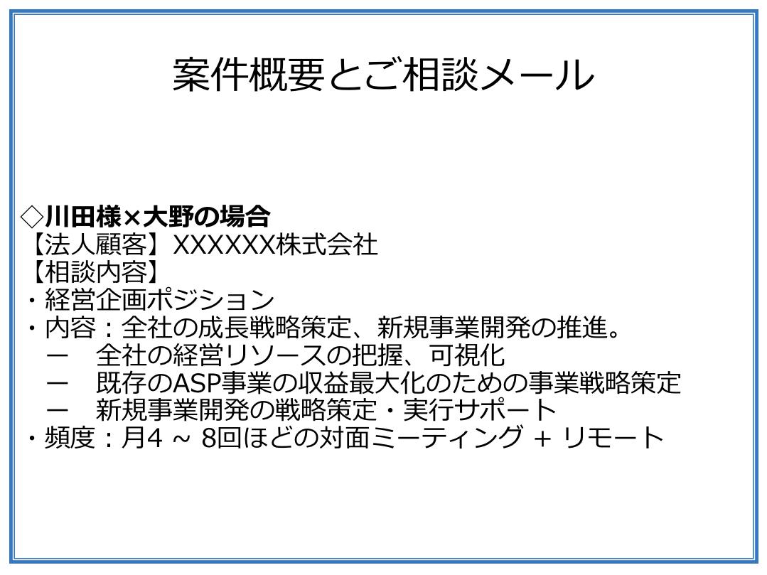 サーキュレーションの大野が川田様に送ったメール概要(固めきれていない案件)